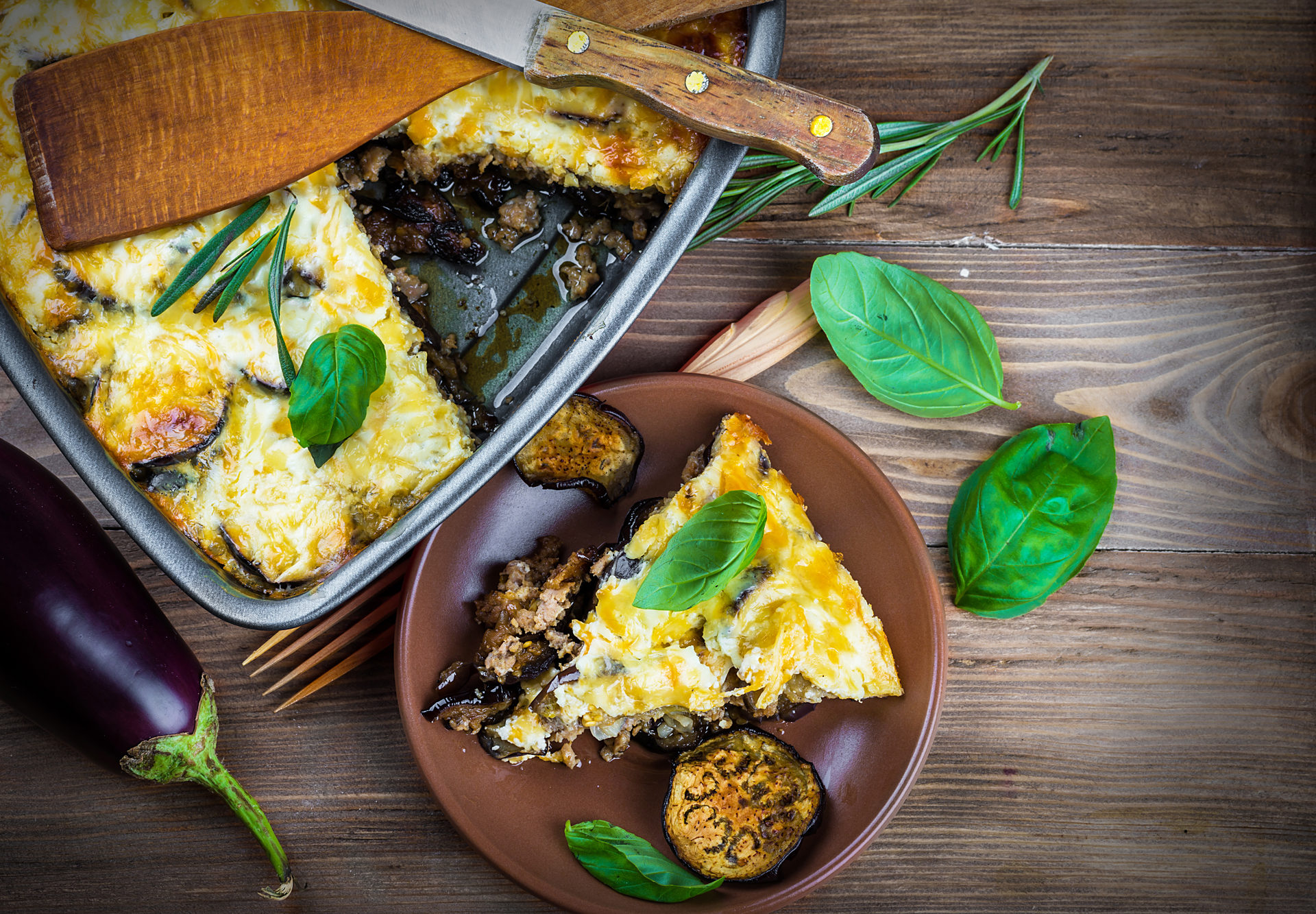 Greek Moussaka of eggplant and minced meat