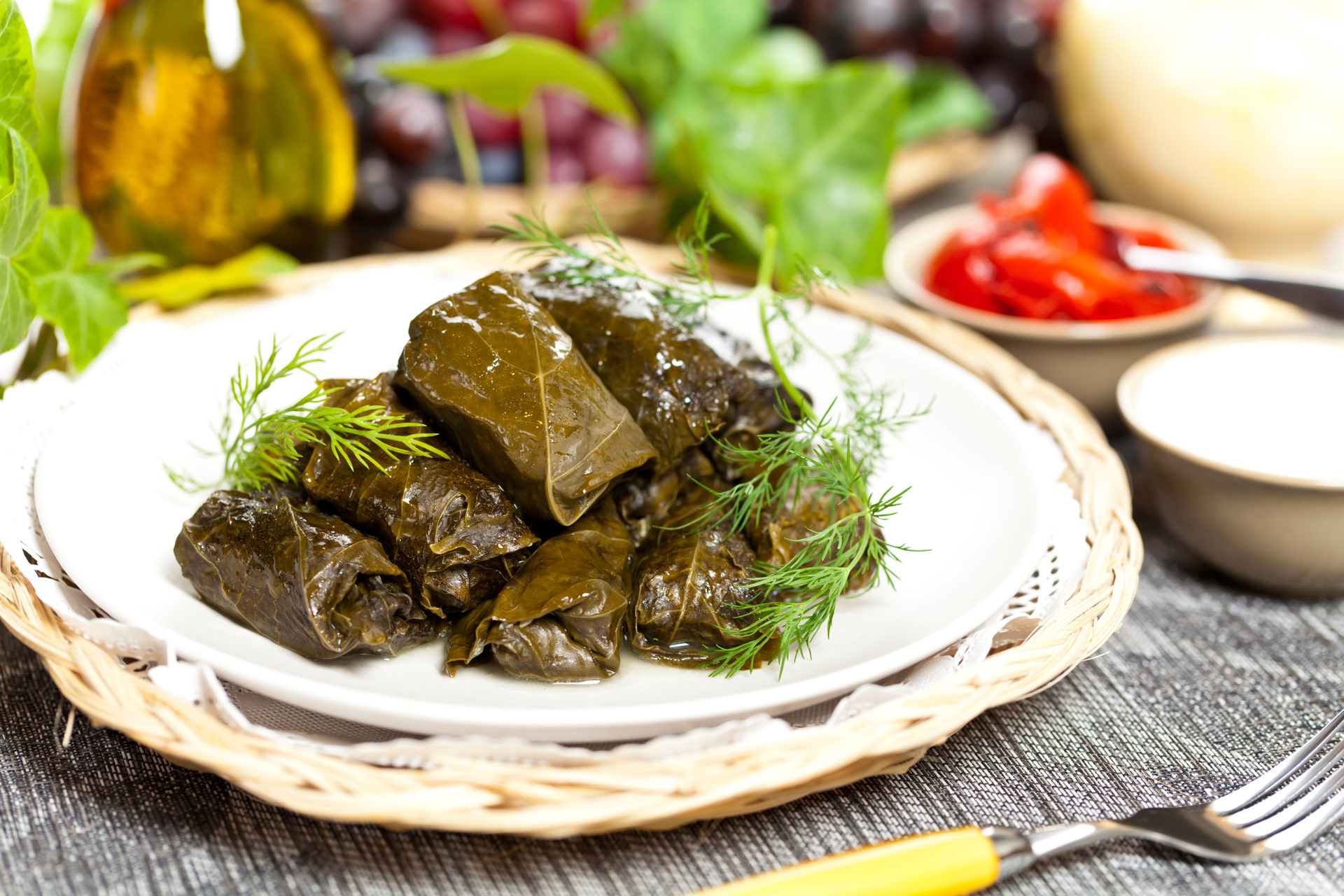 Stuffed Grape Leaves, Dolma Azerbaijan, Turkish and Greek Cuisine