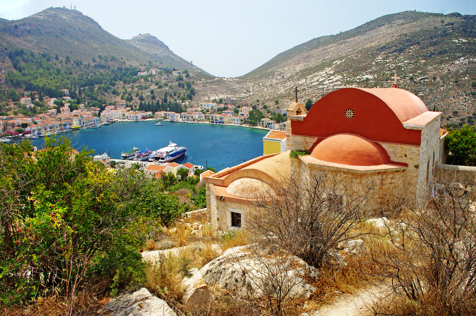 Kastelorizo with beautiful view of bay and church