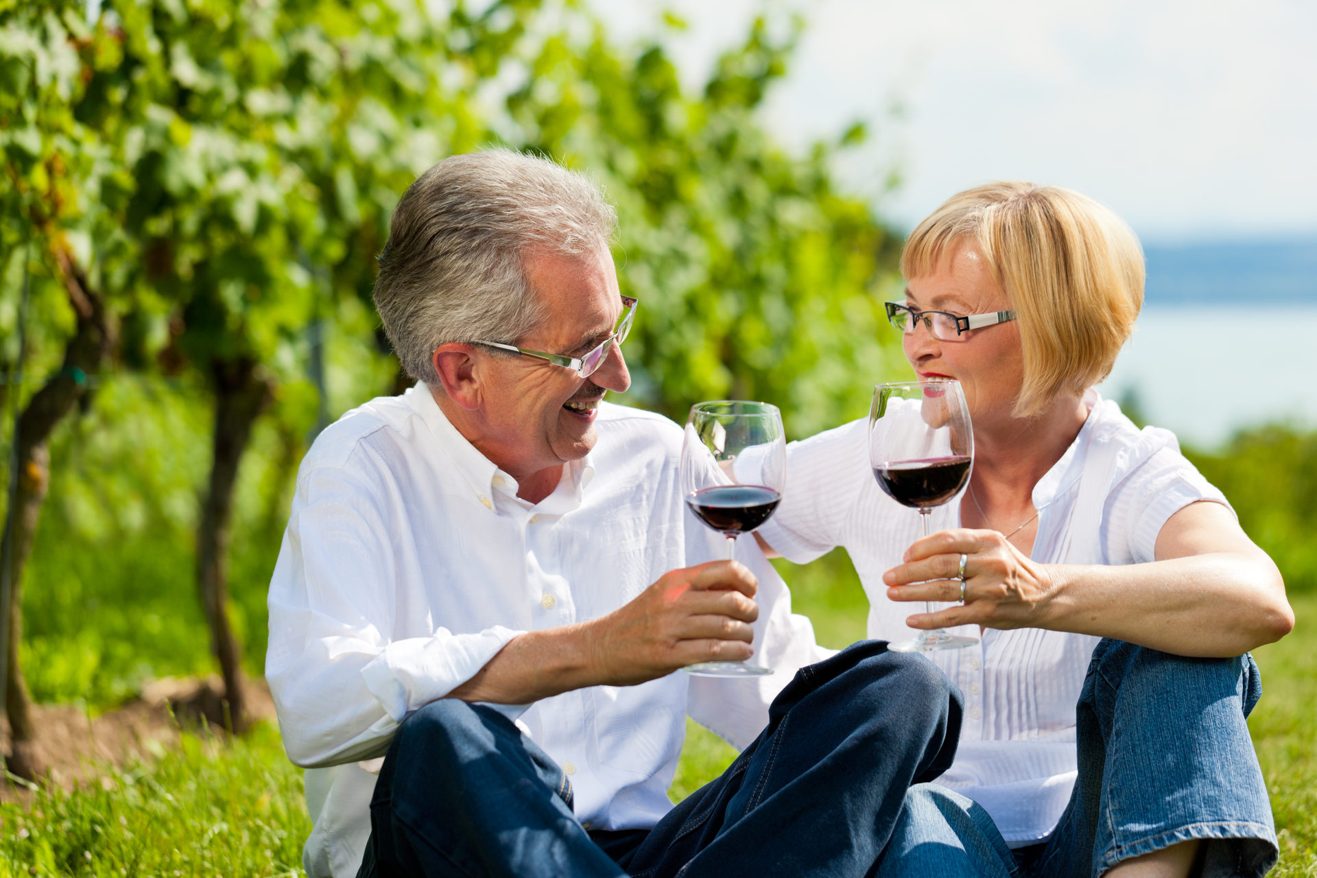Senior couple enjoying a glass of red wine