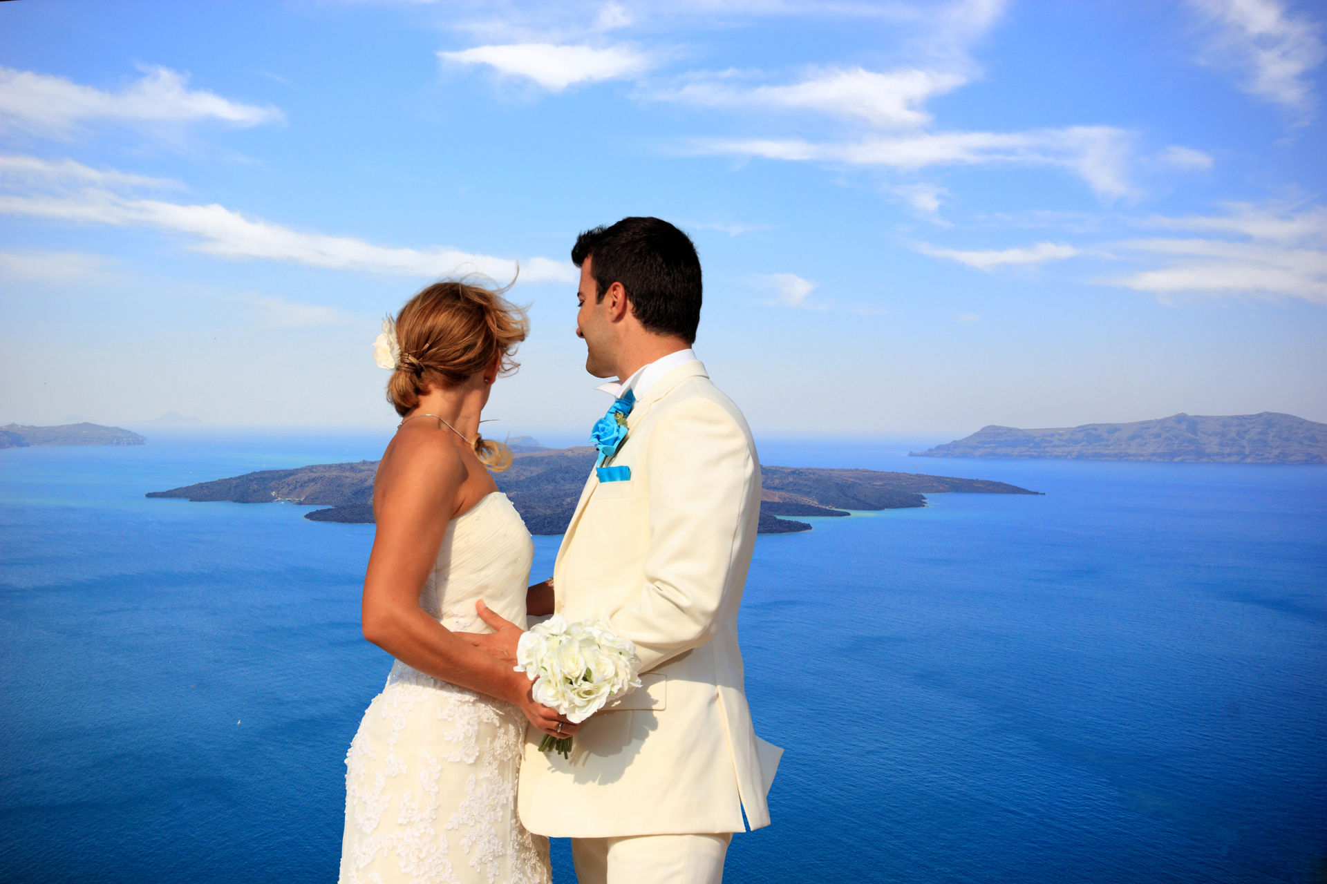 Bride and groom on Santorini island N