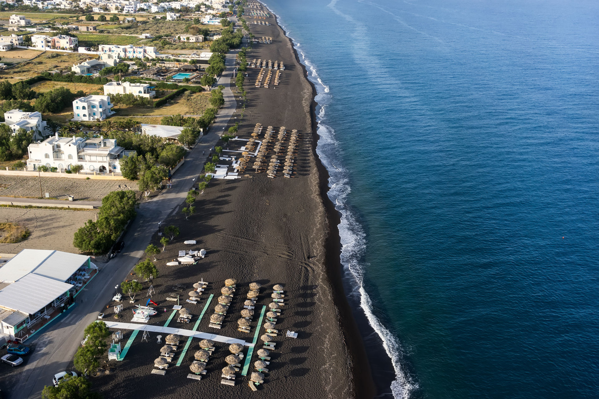 Top view of Perissa beach