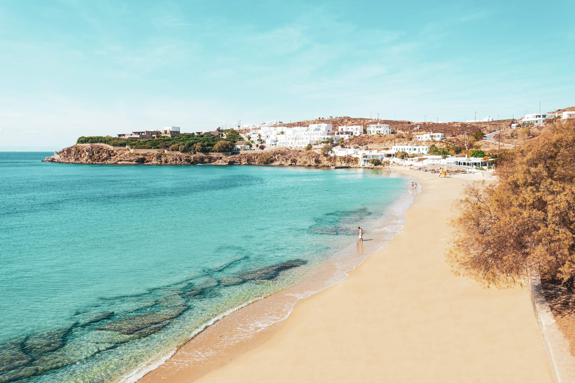 Agios Stefanos Beach on the Mykonos island