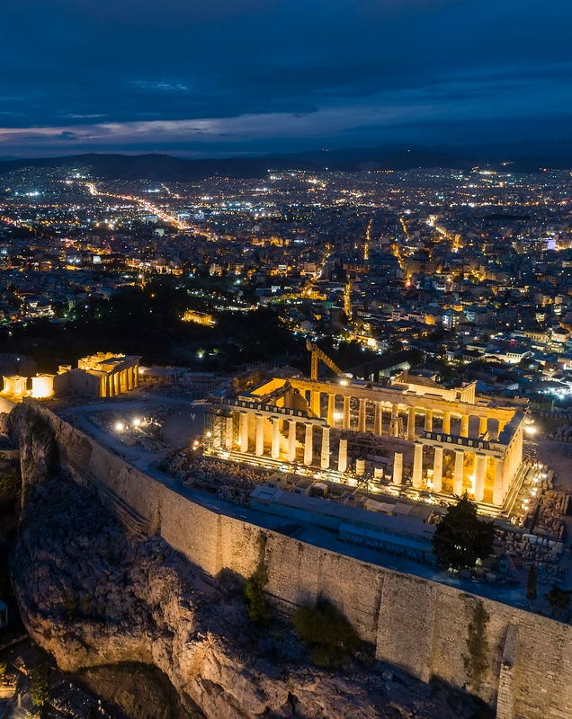 Aerial view of Parthenon and Acropolis in Athens