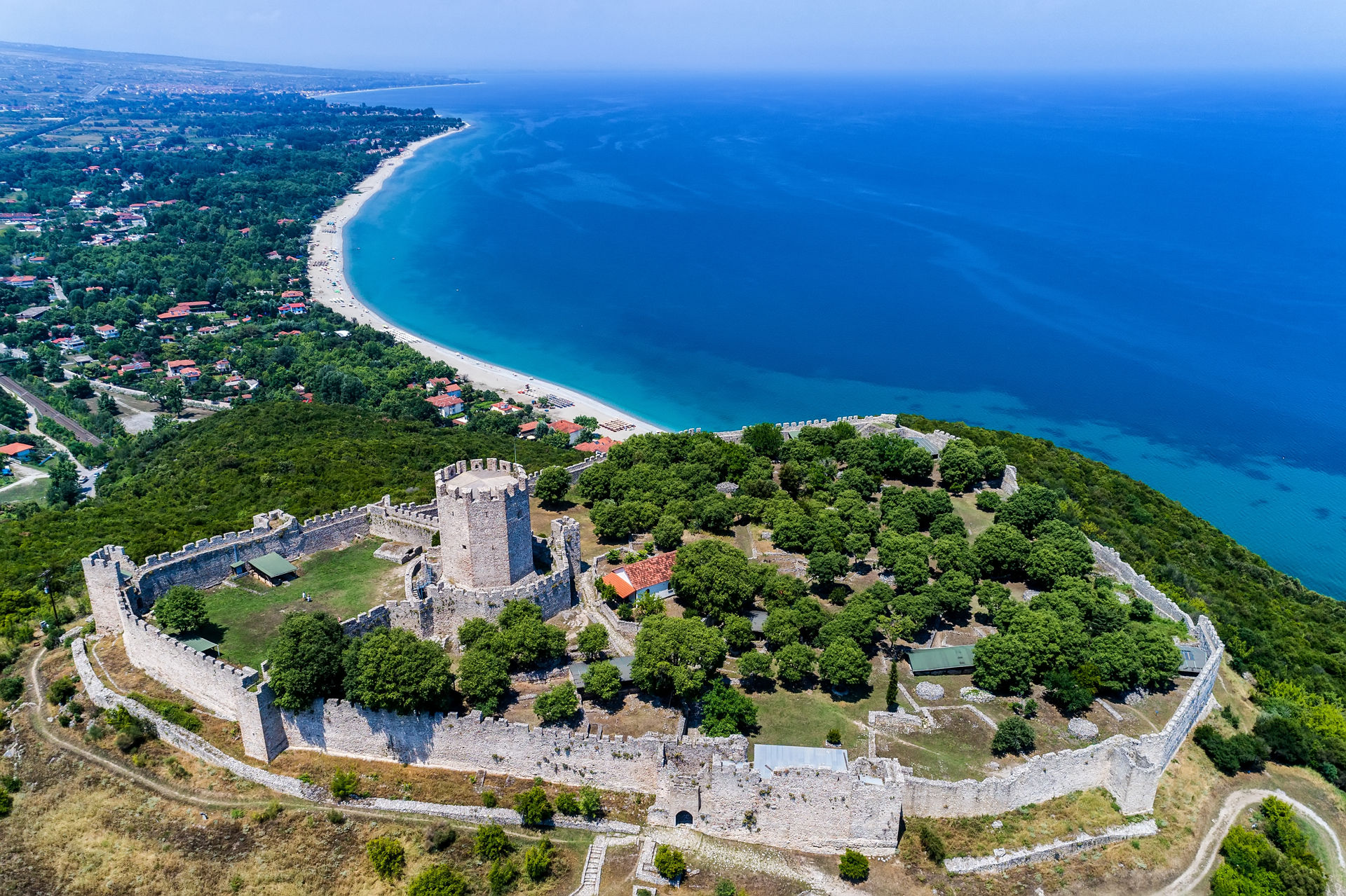 Aerial view of the castle of Platamon, Pieria, Macedonia