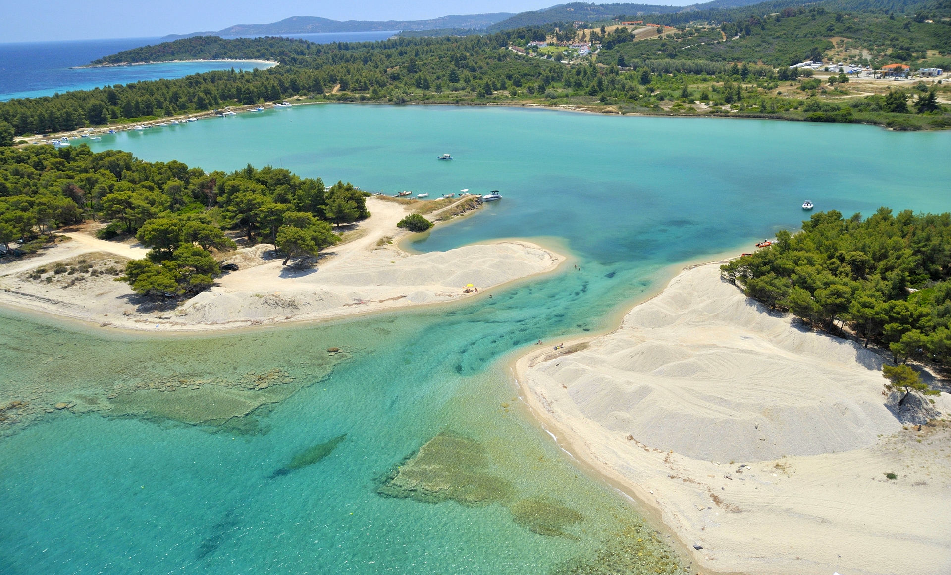 The famous Glarokavos beach in Pefkohori of Halkidiki