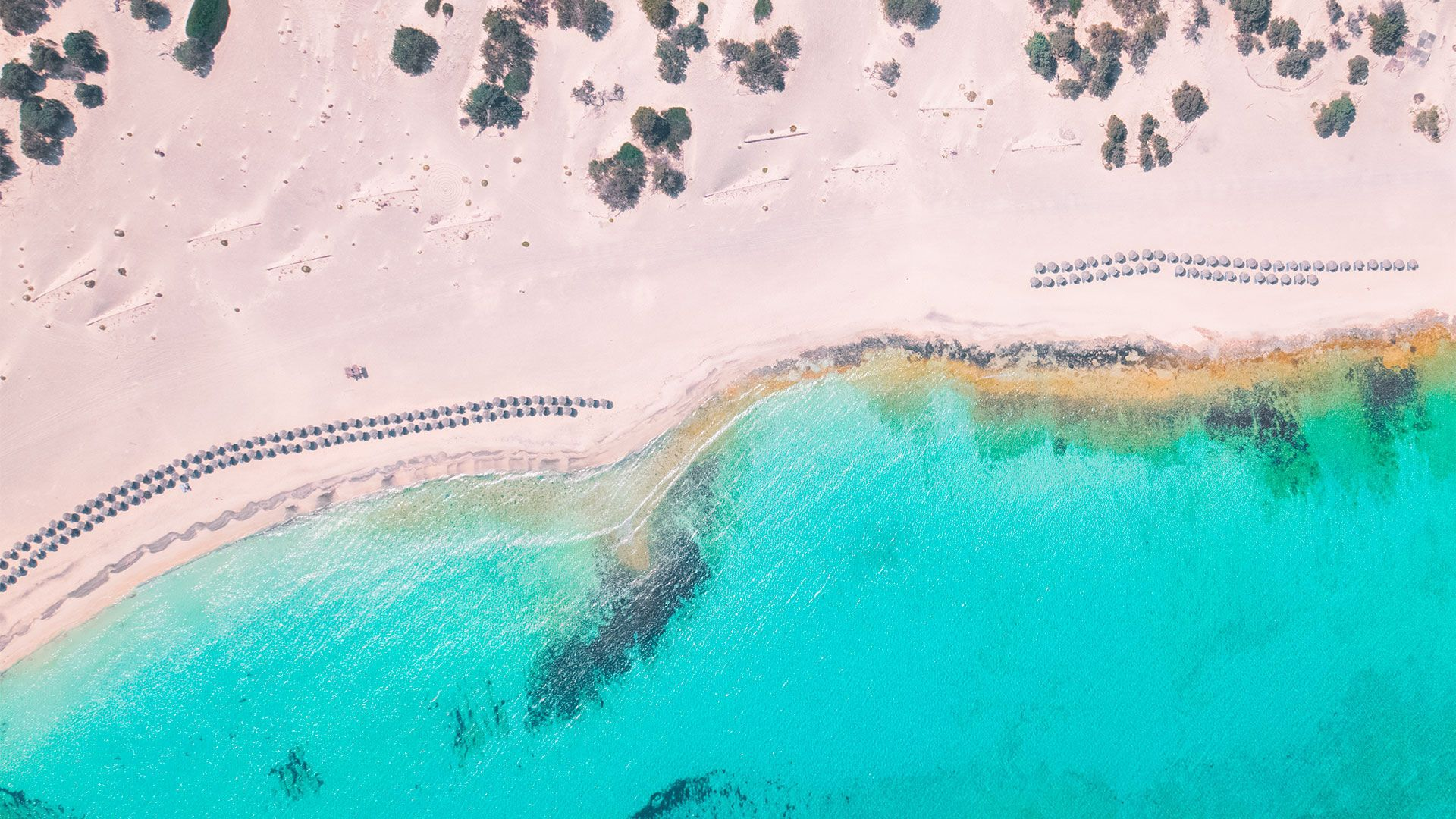 Birds eye view of Chrysi island
