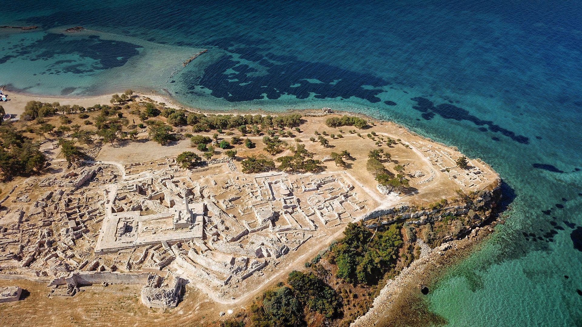 The Temple of Aphaia in Aegina from above