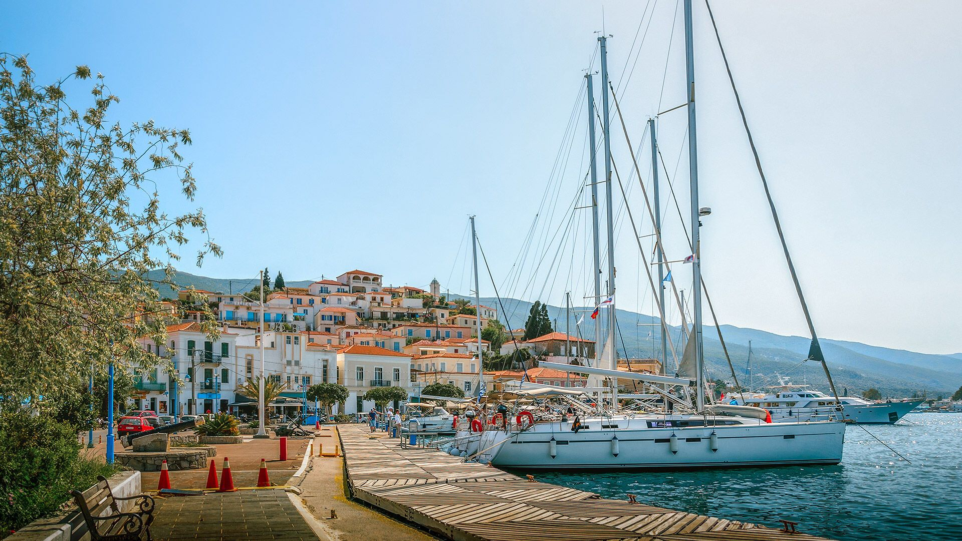 Sailing boats in Poros port