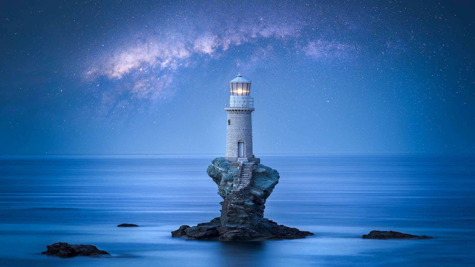 The Tourlitis Lighthouse off the coast of Hora is the only one in the Cyclades built on a rock in the middle of the sea
