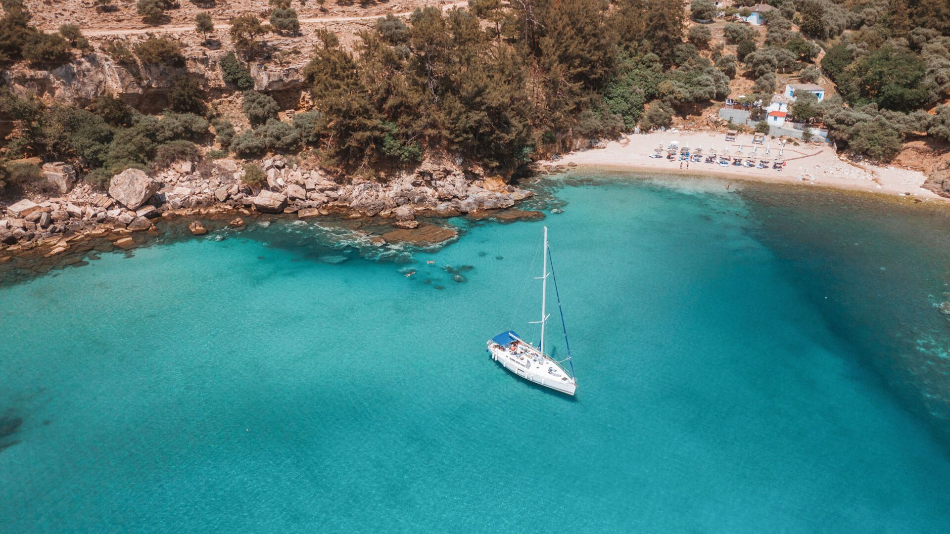 Aerial view of Paradise beach in Thassos island