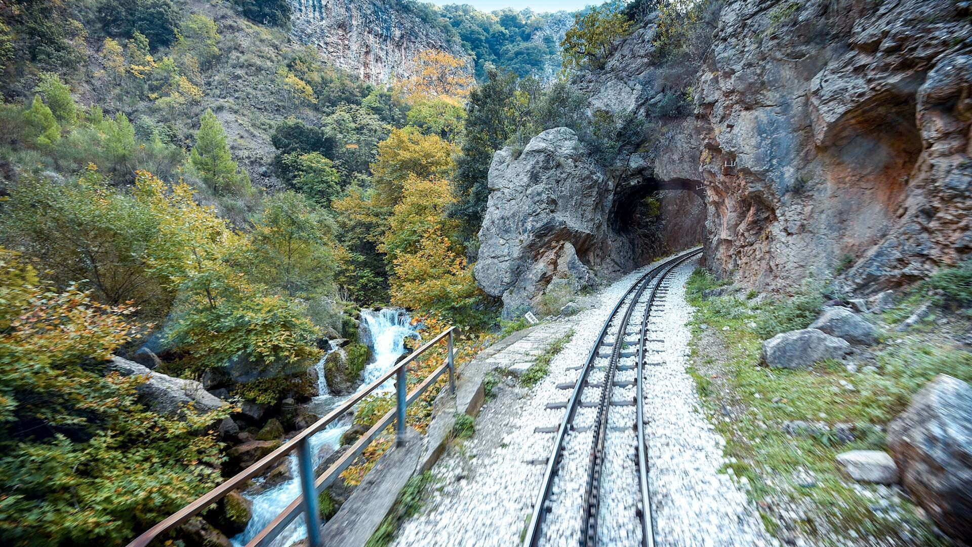 Odontotos rack railway offers a stunning train ride through the canyon