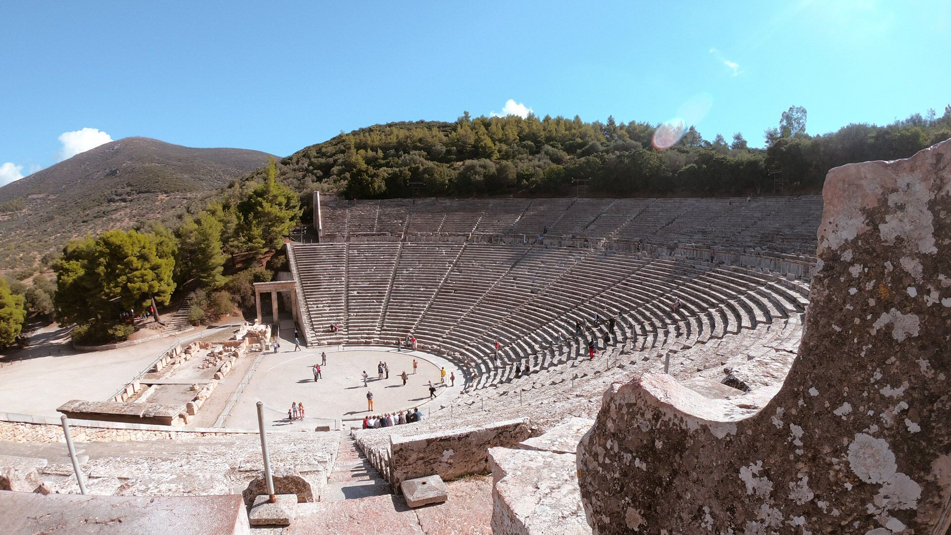 The famous theatre at Asclepius of Epidaurus is one of the most important monuments of ancient Greece