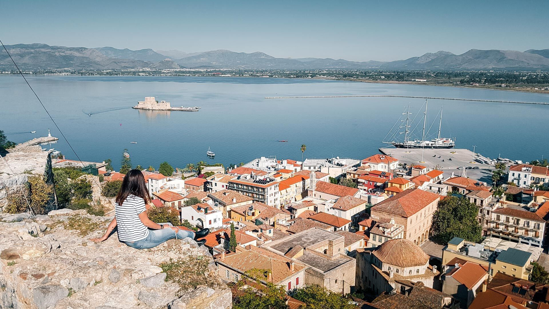 View of Nafplio city and Bourtzi castle from above