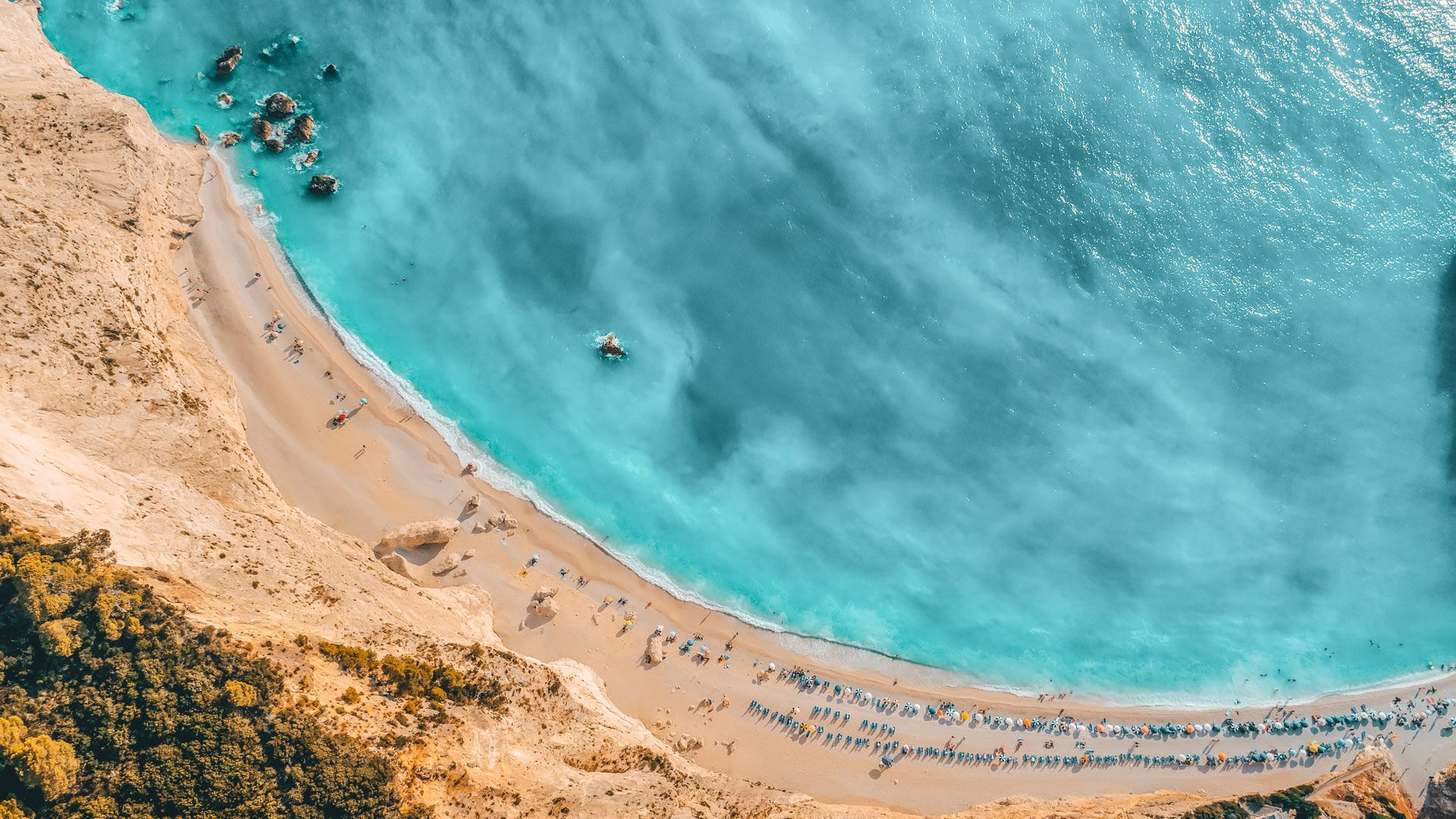 Exotic beach of Porto Katsiki beach from above