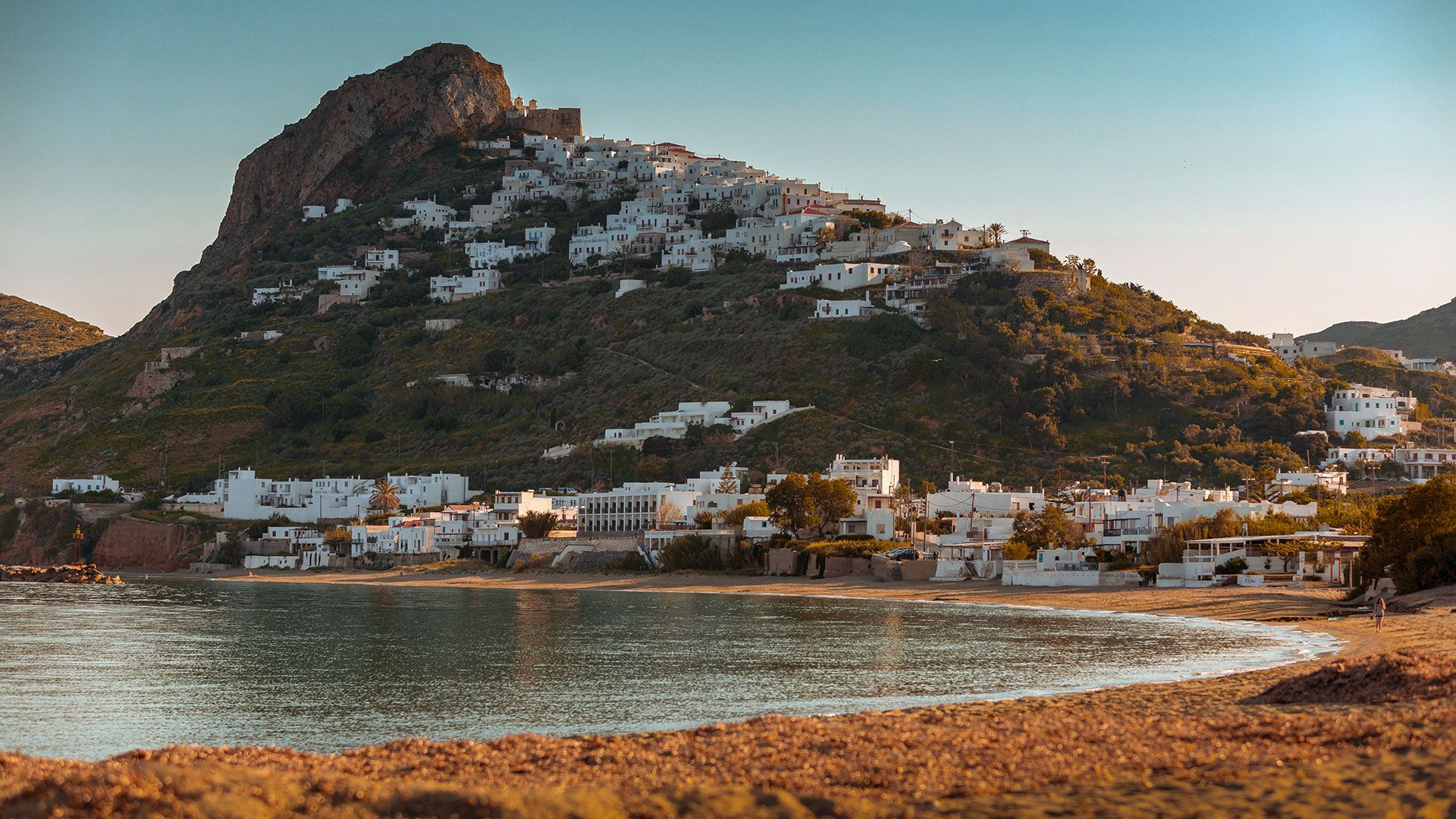 Magazia, the large and popular sandy beach, overwatching Hora, Skyros island