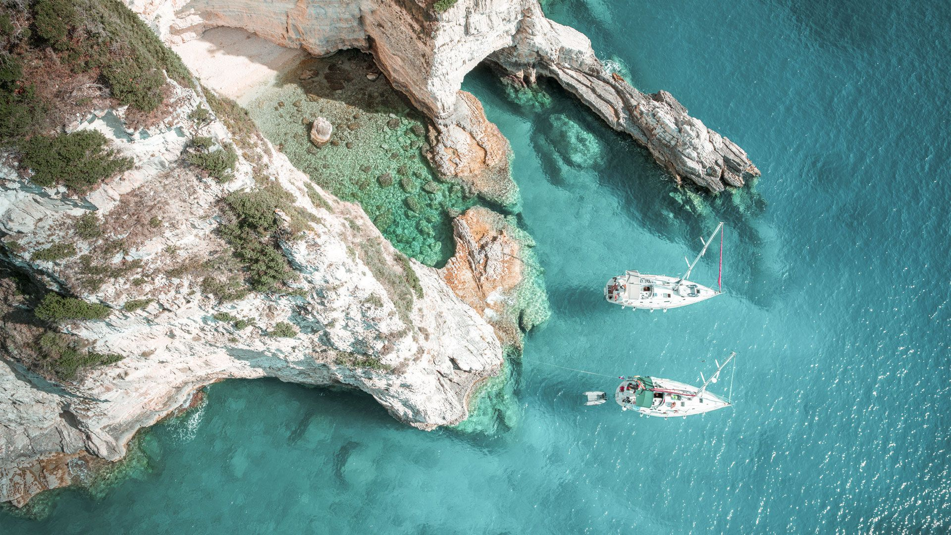 Travel to the west coast by boat, Paxos island