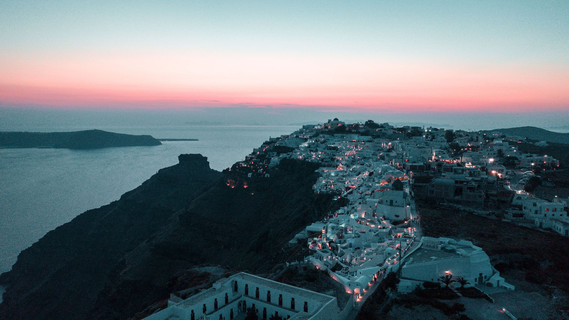 View of Oia from above at night