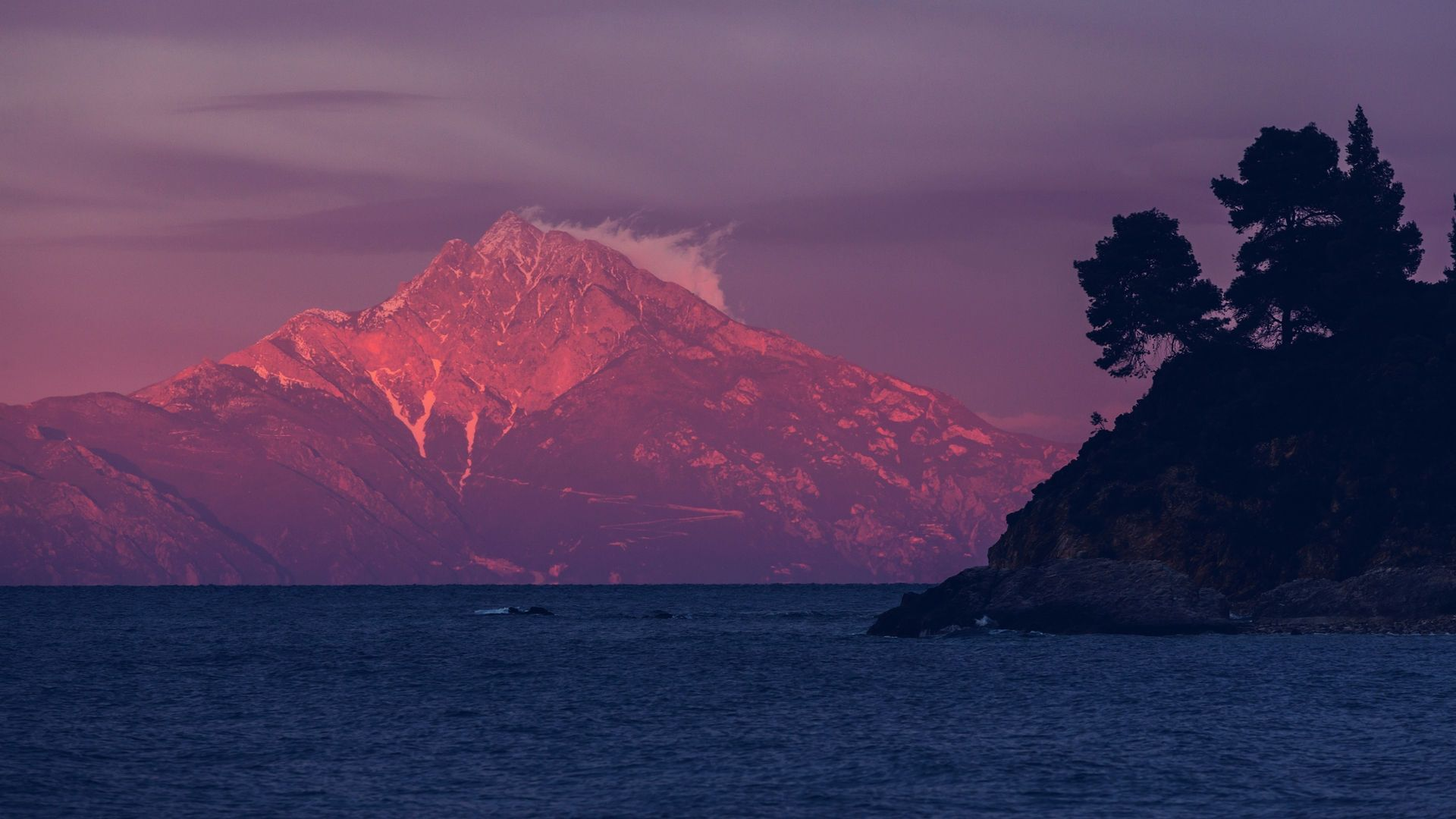 View of the sacred Mount Athos from Halkidiki peninsula