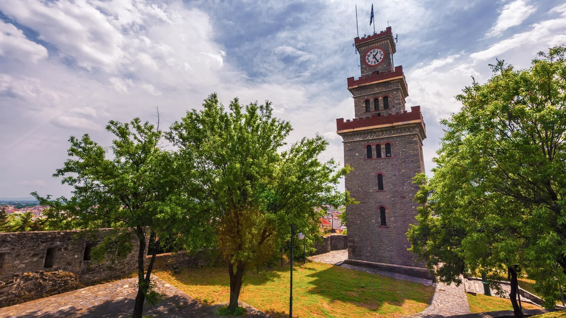 The 17th century clock tower within the medieval fortress of the old town Varousi Trikala