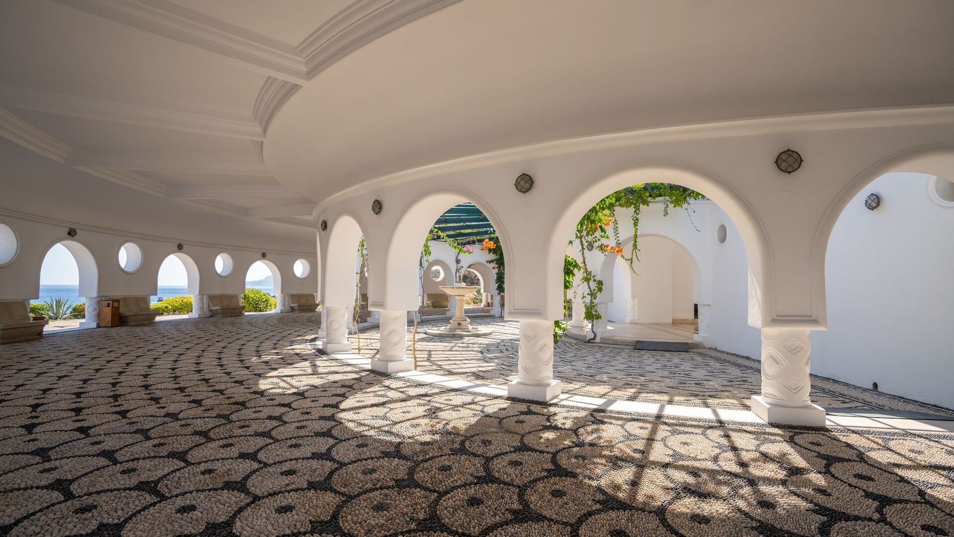 The Kallithea Springs, where you'll love the art deco feel and the pebble mosaics