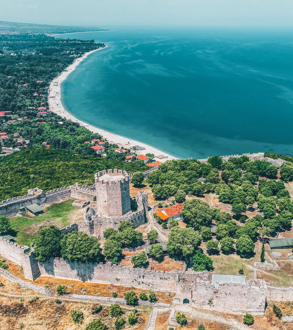 Aerial view of the castle of Platamon, close to Katerini