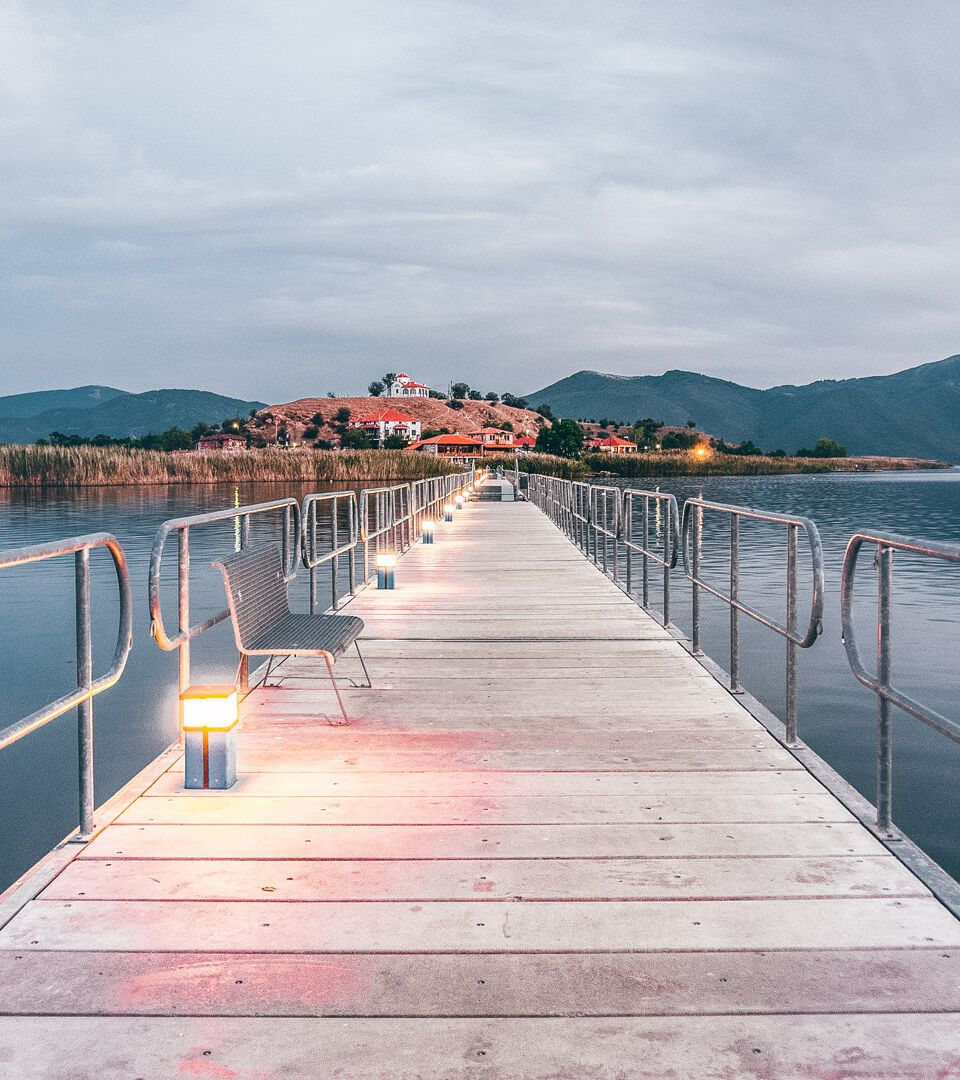 Floating bridge during sunset in Mikri Prespa Lake