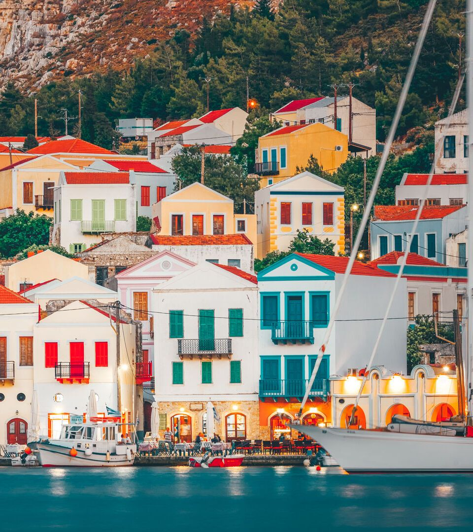 Lined with handsome old houses, Kastelorizo's little harbour could be an advertisement for Dodecanese architecture