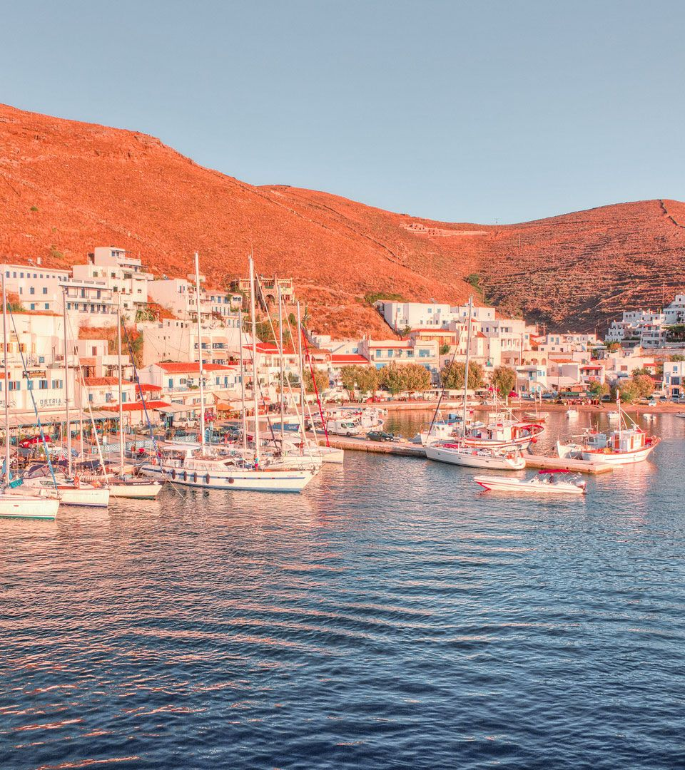 Merichas port on Kythnos during sunset