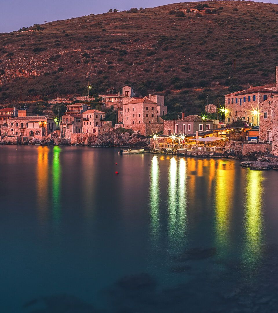 South of Areopolis, you'll come to the indescribably lovely, much photographed little fishing port of Limeni