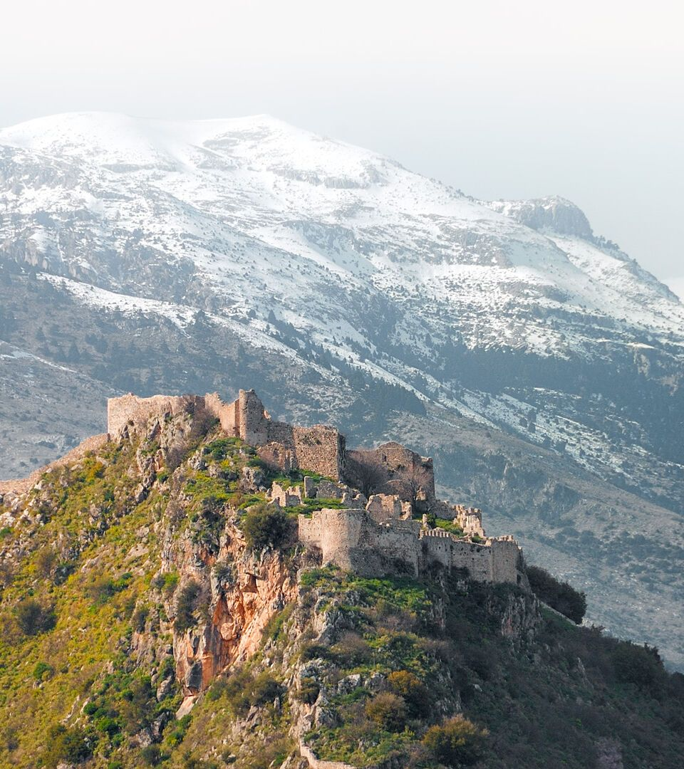 The castle of Mystras and Taygetus mountain at the background