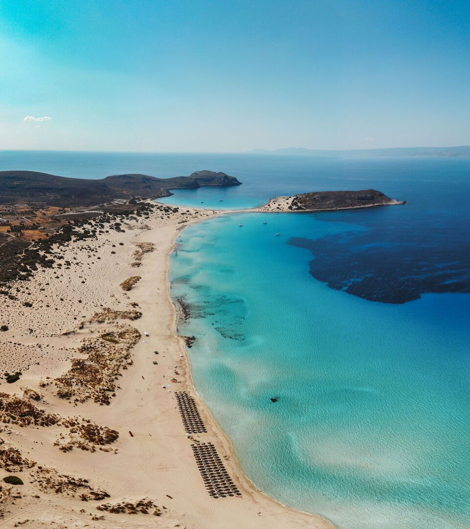 The exotic beach of Simos, one of the most beautiful beaches in the Mediterranean