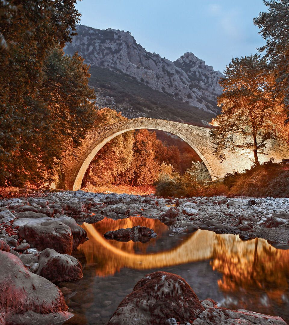 The famous arched stone bridge of Pyli, built in 1514