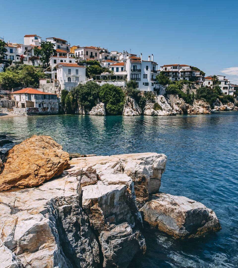 The captain's houses of the listed Plaka district, Skiathos town
