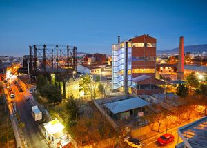 Technopolis as seen from a bar in Gazi neighborhood, Greece.