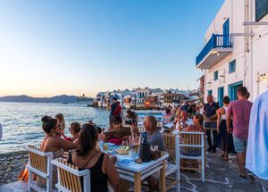 Little Venice. The famous bay of Mykonos