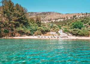 Pine trees and crysta clear waters on Arsanas beach in Thassos_edit