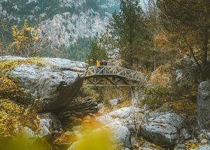 Wooden bridges criss-cross the 10km Epineas path along the densely-forested valley