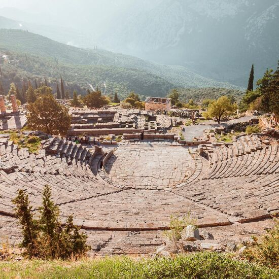 Located above the temple of Apollo, the ancient theatre looks over the entire sanctuary and a valley of olive trees