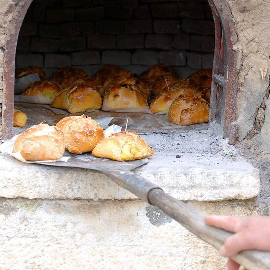 Traditional Easter bread with cheese dough