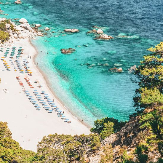 The award-winning sandy crescent of Apella is the most beautiful beach on Karpathos