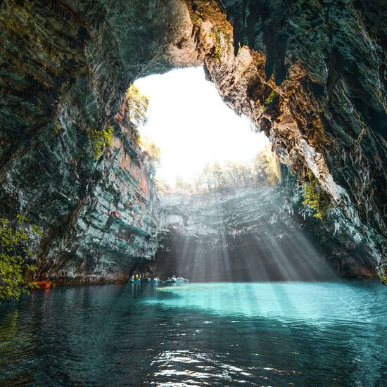 The 50 shades of turquoise in the underground Lake Melissani are mesmerising