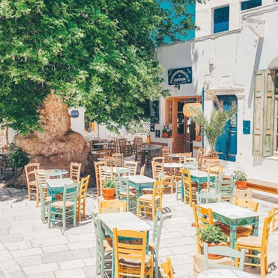 Pyrgos, in the north, has a charming square where you can settle down to Greek coffee and a slice of galaktoboureko