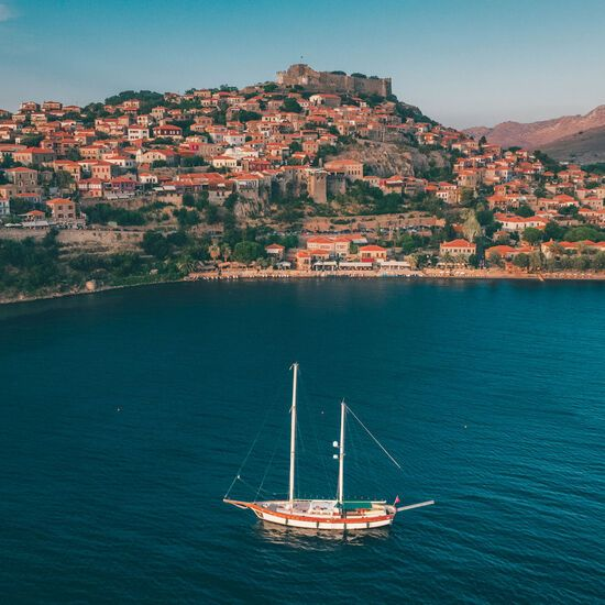 Sailing around Molyvos, a castle town overwatching the Aegean Sea