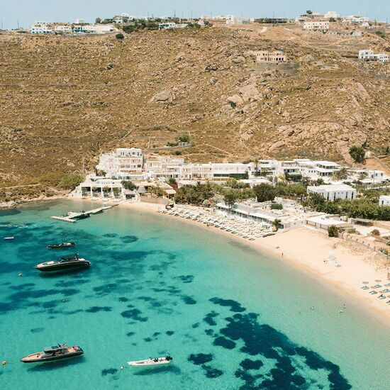 Psarou beach in Mykonos in early summer months