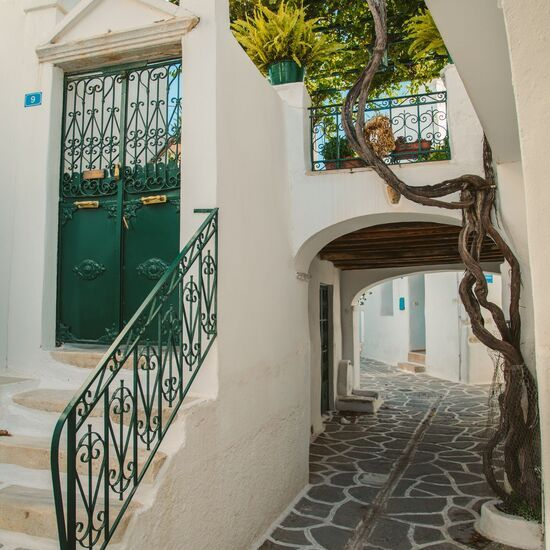 Paroikia, the Hora of Paros, with typical cycladic alleyways