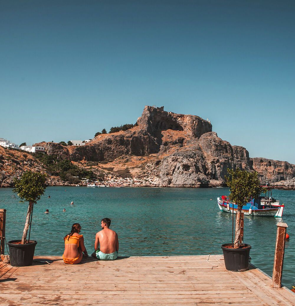 View of Lindos castle from St.-Paul's bay