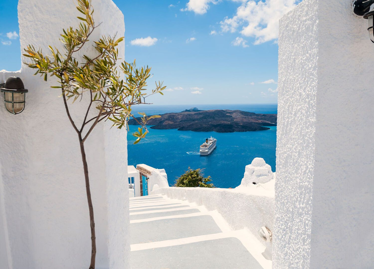 White architecture on Santorini