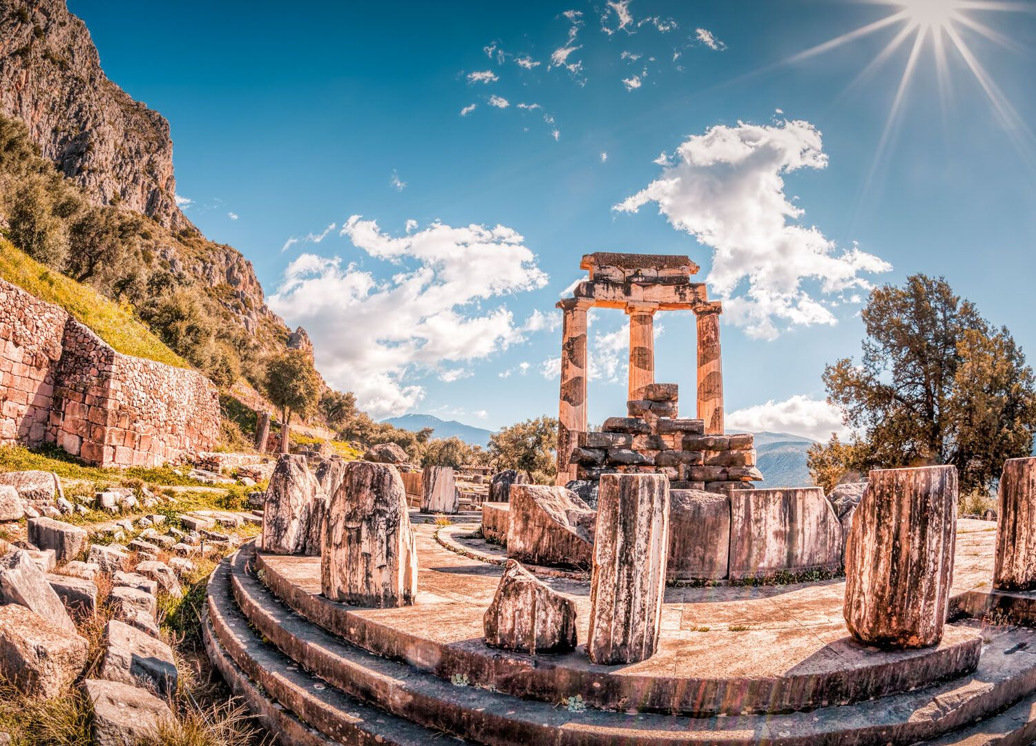 The Tholos of Athena Pronaia originally consisted of 20 Doric columns arranged around 10 Corinthian columns