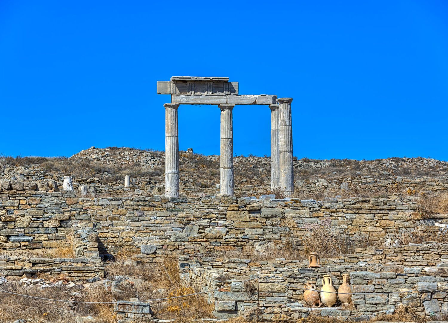 The island of Delos,one of the most important archaeological sites in Greece
